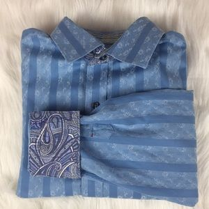 Robert Graham Button Up Blue w Paisley Flip Cuffs